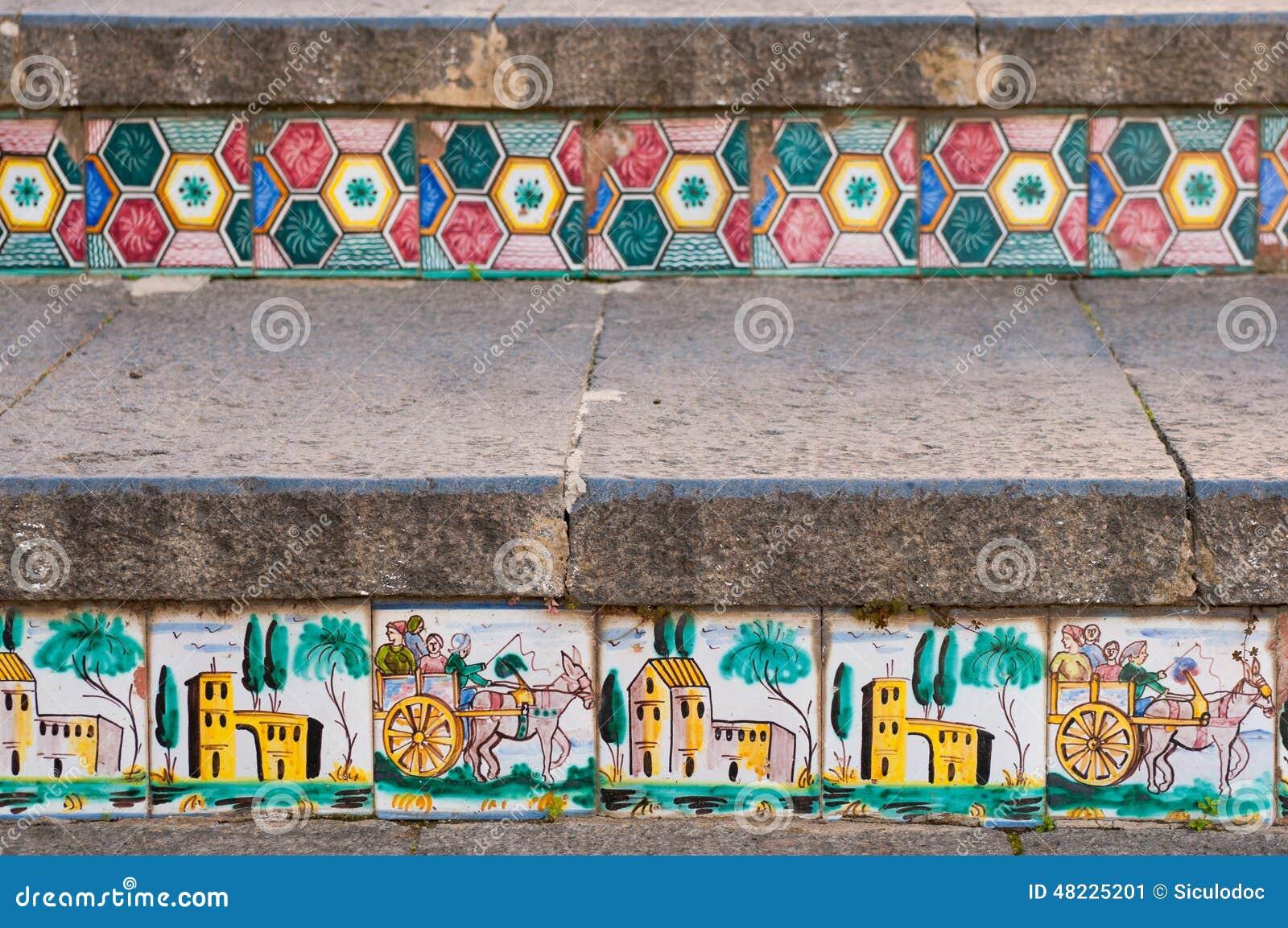 Scala di caltagirone immagine stock. immagine di colorful 48225201