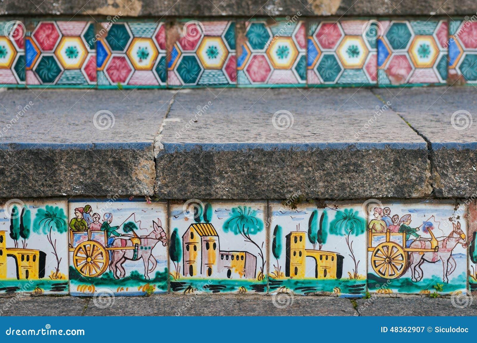 Scala di caltagirone immagine stock. immagine di decorato 48362907