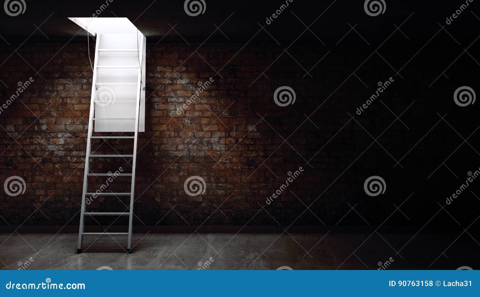 Da Luce Alla Soffitta scala di legno alla soffitta con luce illustrazione di stock