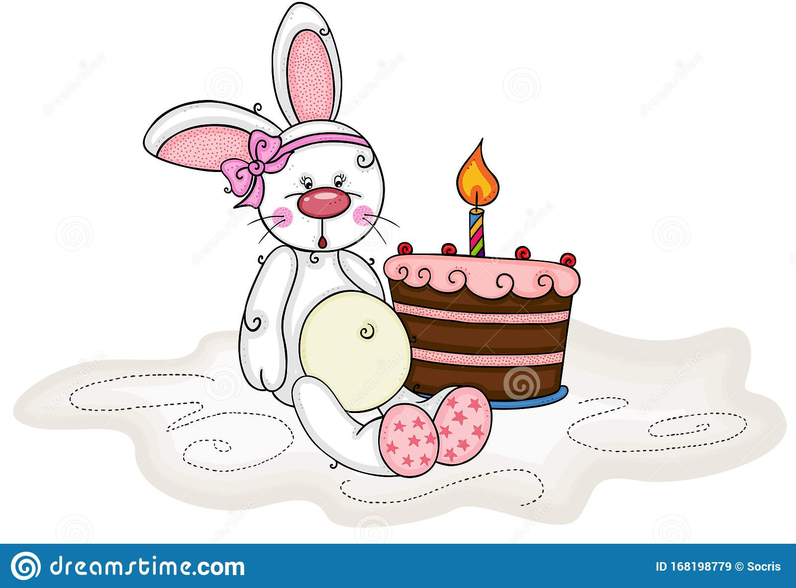 Awesome Baby Girl Bunny And Birthday Cake With One Candle Stock Vector Birthday Cards Printable Trancafe Filternl