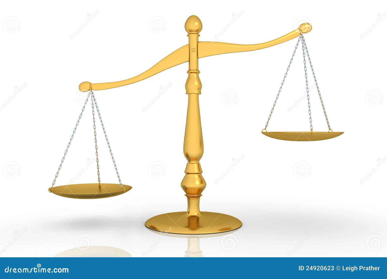 Uneven Scale Of Justice Golden uneven scale - 3d
