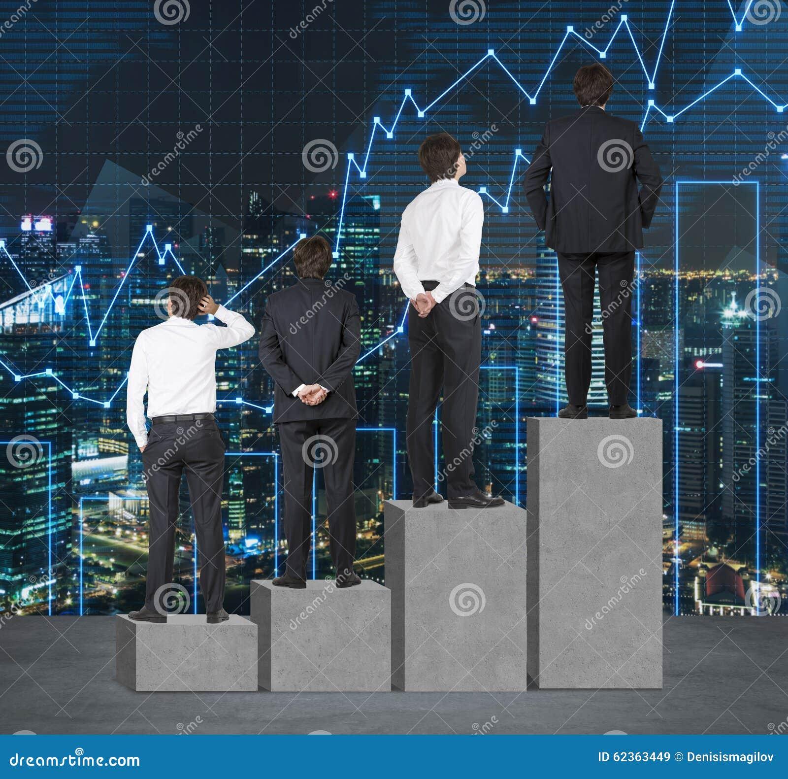 Scale come istogramma concreto enorme Gli uomini d affari stanno partecipando su ogni punto come un concetto di gamma di problemi