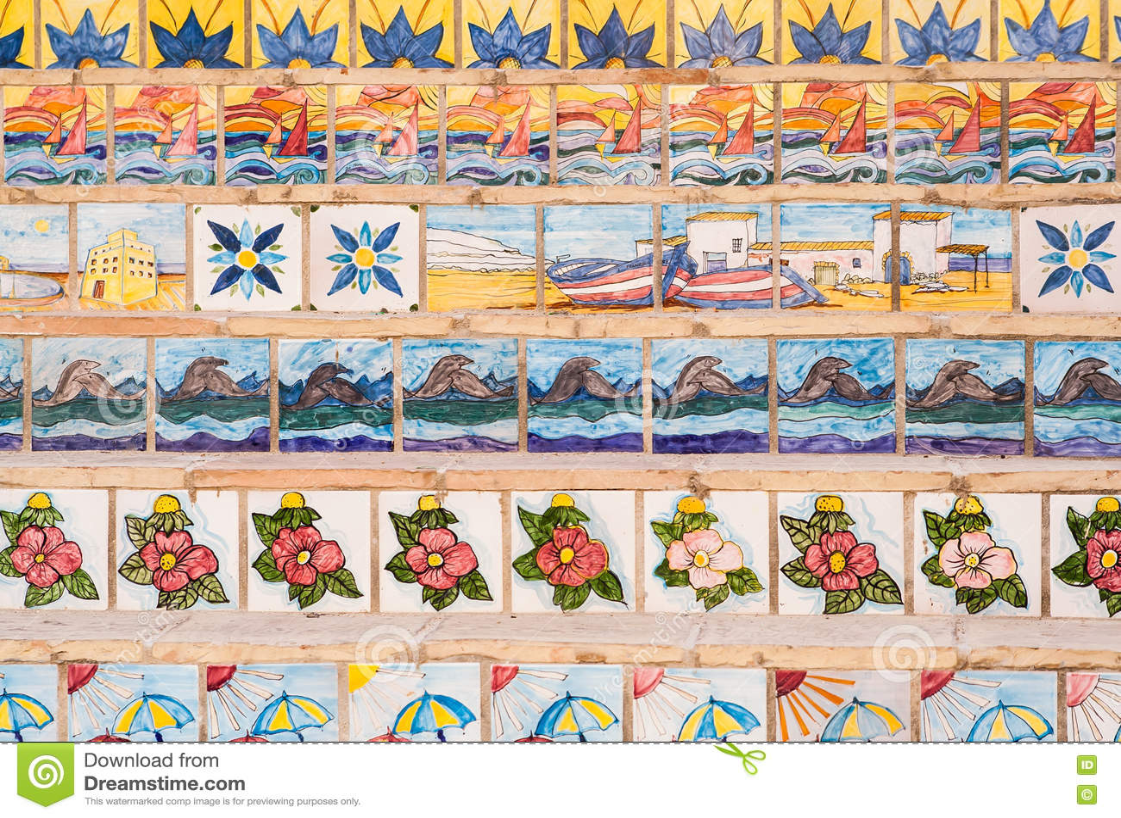 Piastrelle Di Ceramica Decorate.Scale Decorate Con Le Piastrelle Di Ceramica Sicily Immagine