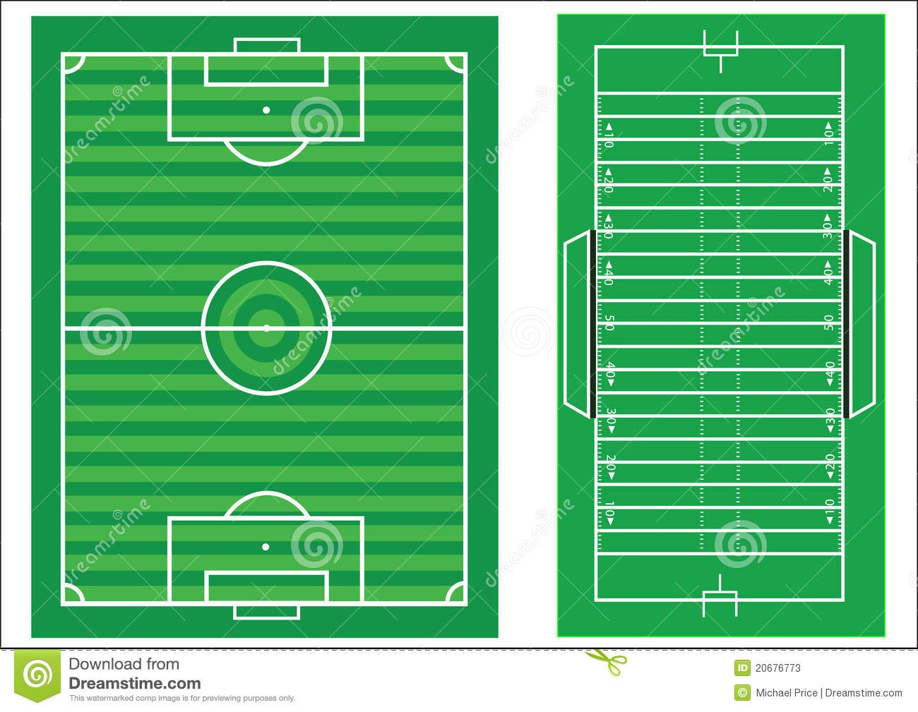 Scale Diagram Of Soccer And American Football Stock Photos