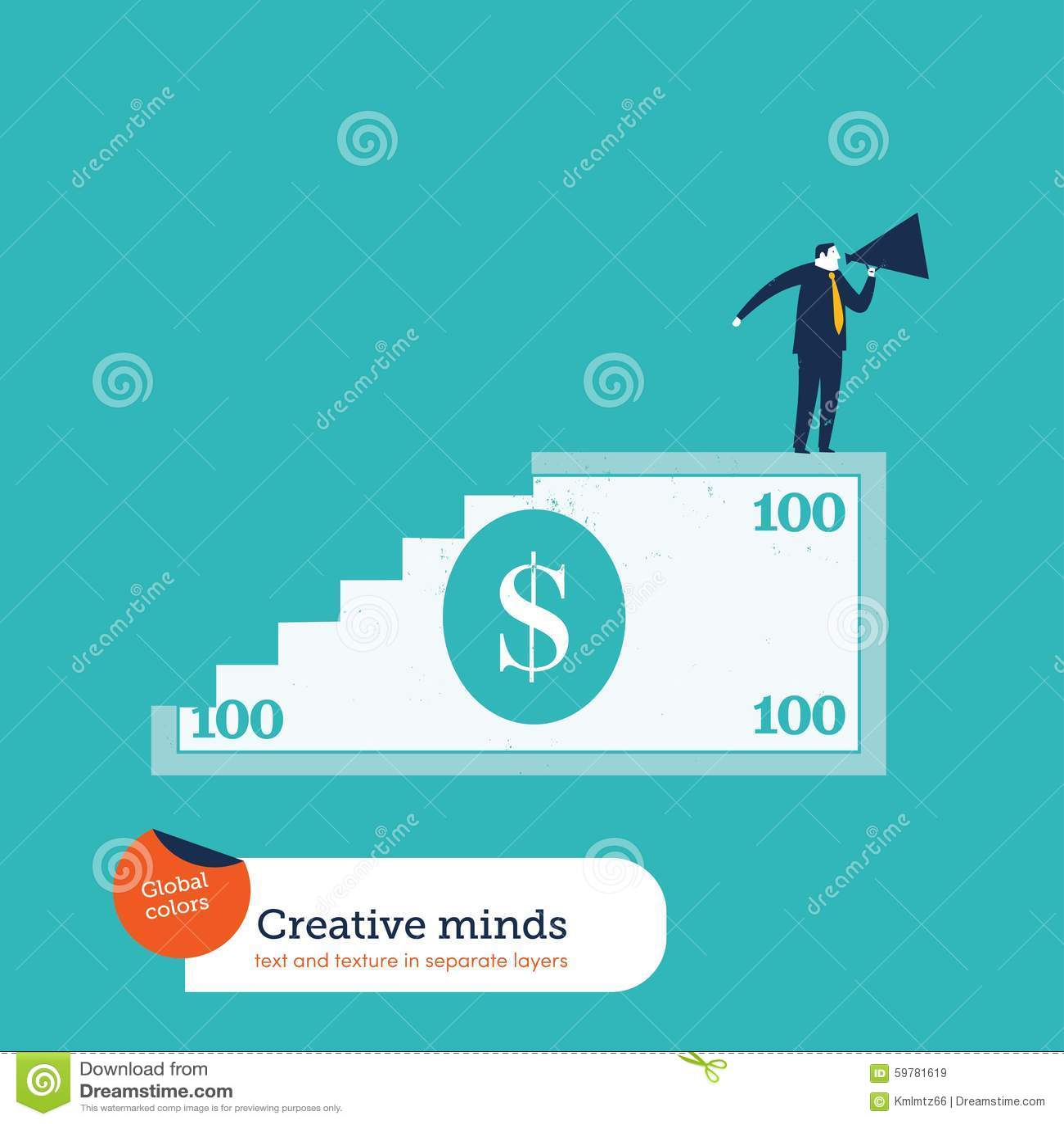 100 scale ed uomini della banconota in dollari con il megafono