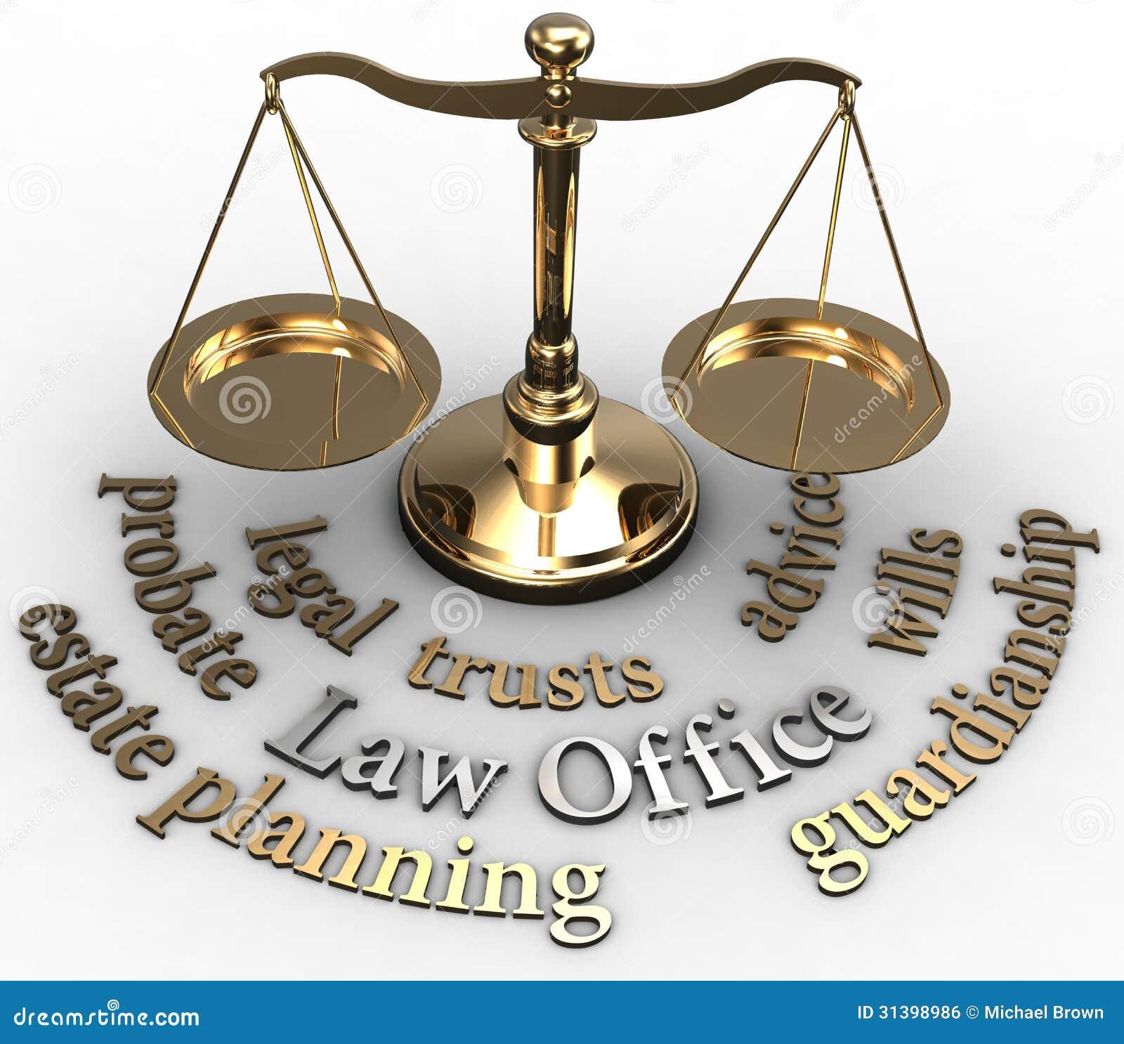 Estate Planning: Scale Estate Probate Wills Attorney Words Stock