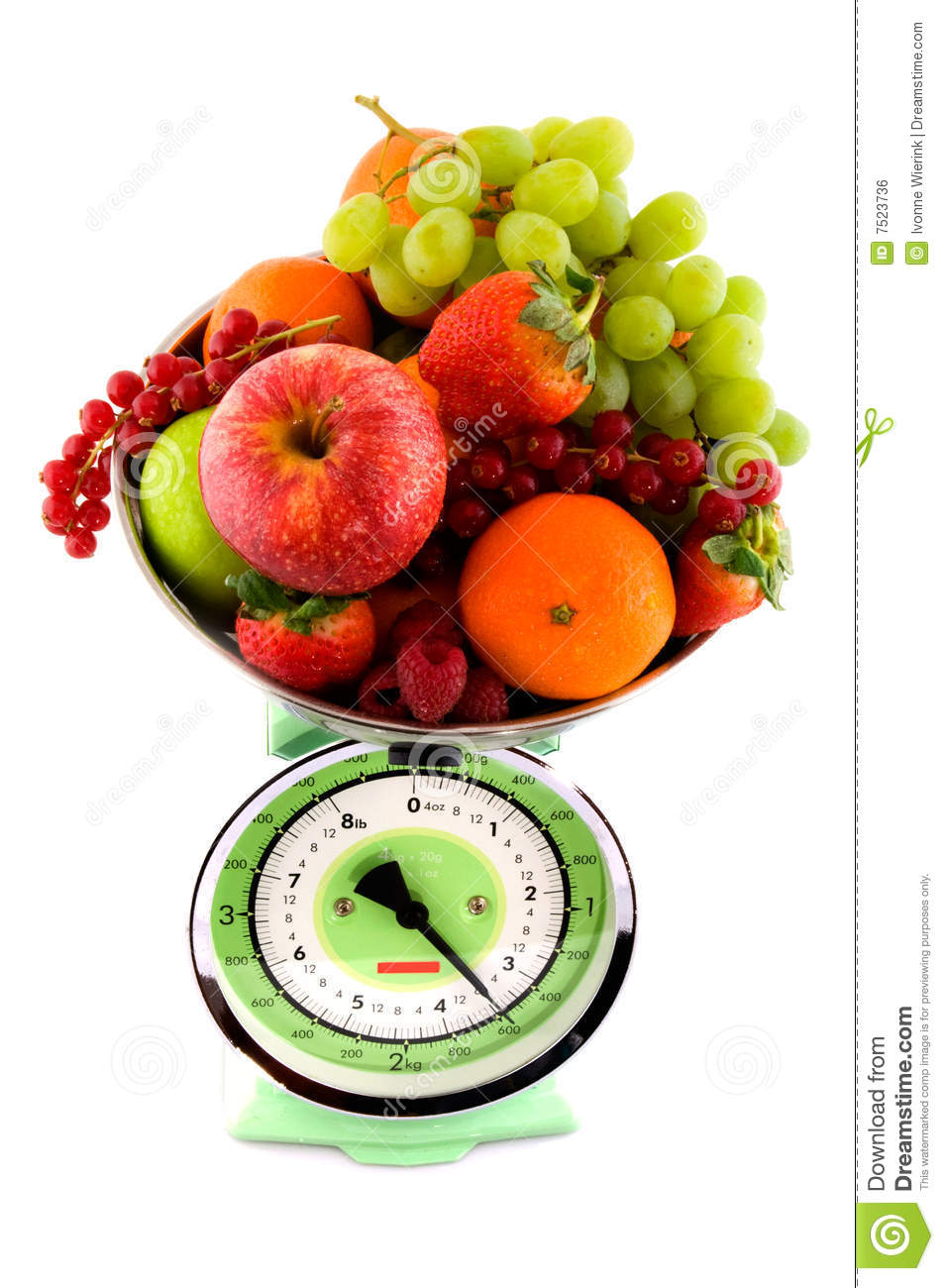 Scale With Fruit For Diet Stock Photo  Image Of Apples