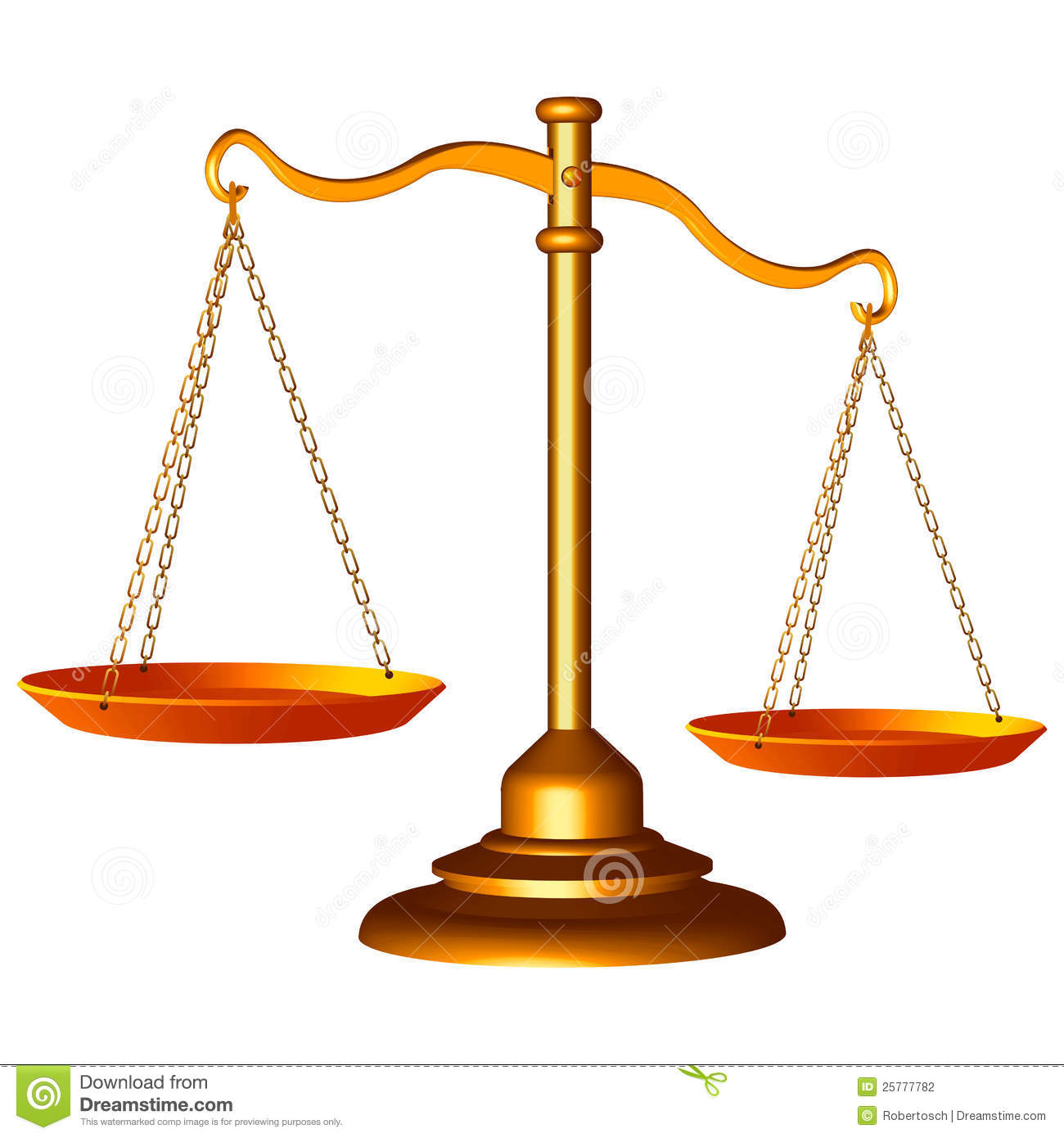 Golden scale of justice against white background, abstract vector art ...