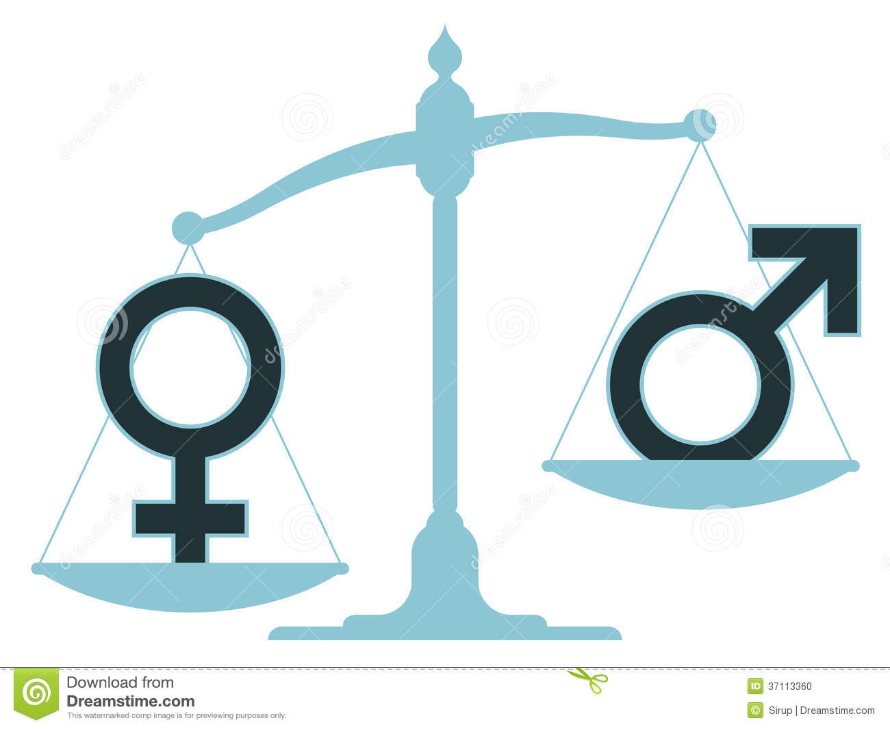 scale with male and female icons showing imbalance stock Unbalanced Scales of Justice Weight Scale Clip Art
