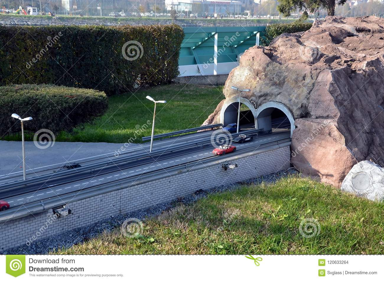 Scale model of a highway road