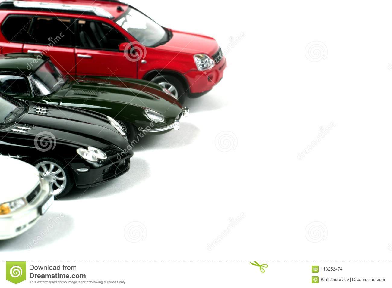 Scale Models Of Cars On A White Background  Stock Photo