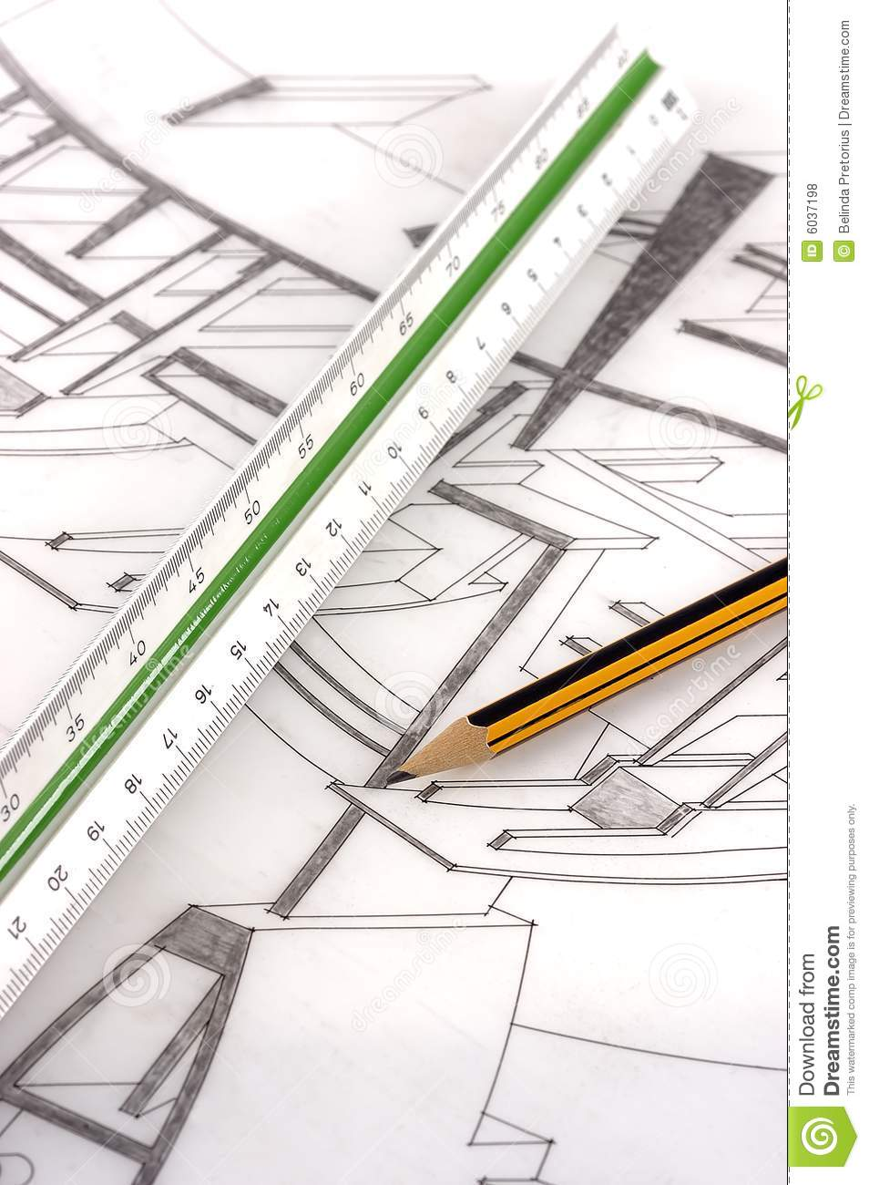 A scale ruler and pencil on a technical drawing stock for Blueprint scale