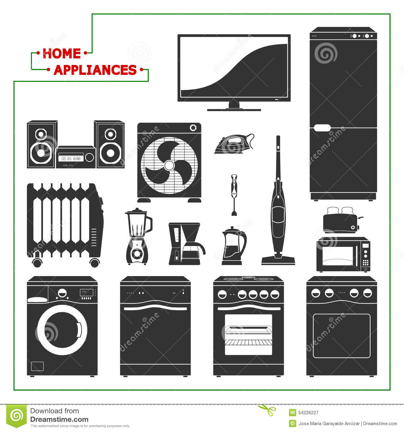 Scaled Monochromatic Home Appliances Vector Modern Style