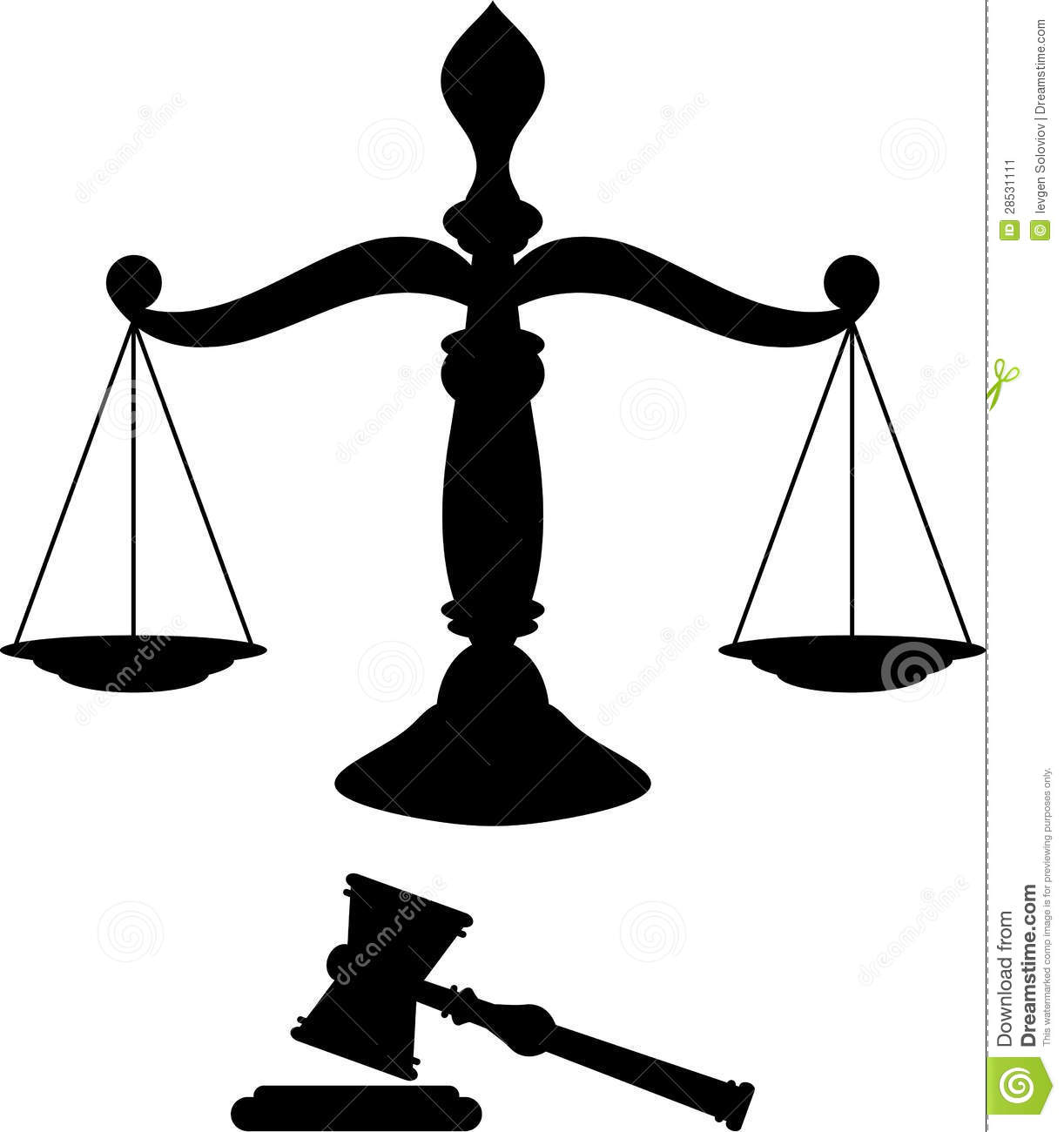 Black silhouette of scales of justice with gavel.: dreamstime.com/stock-image-scales-justice-image28531111