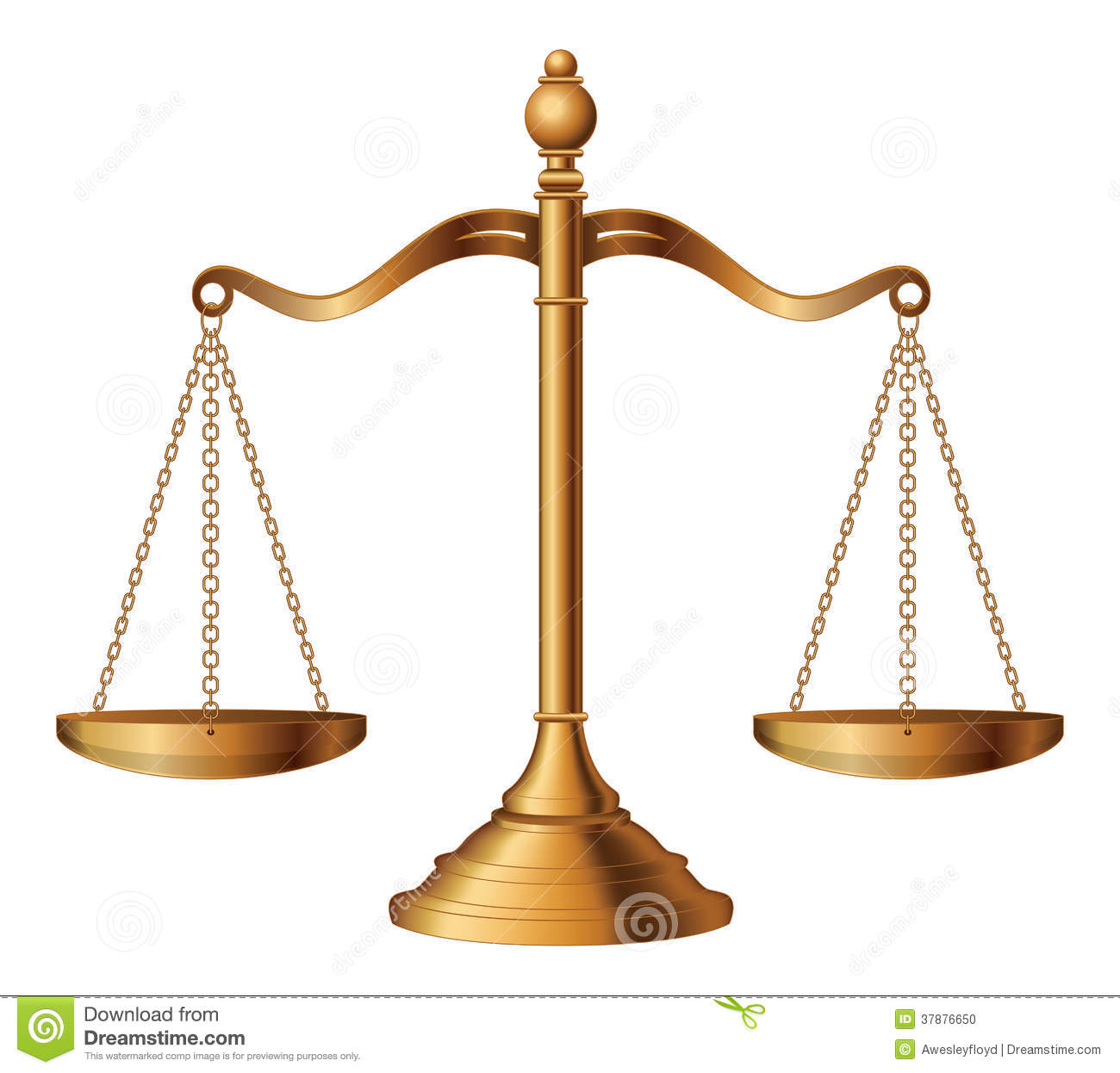 Illustration of the scales of justice symbolizing the measure of a ...