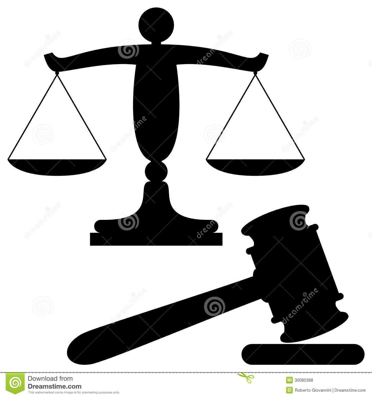 Scales of justice and gavel black silhouette symbols, isolated on ...