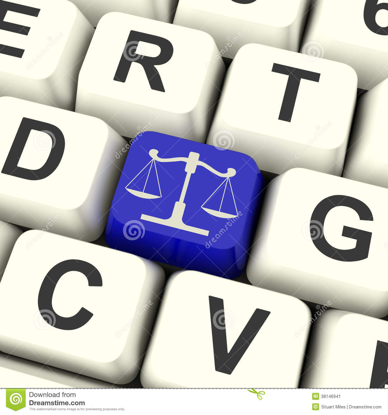 Scales Of Justice Key Means Law Trial Stock Illustration