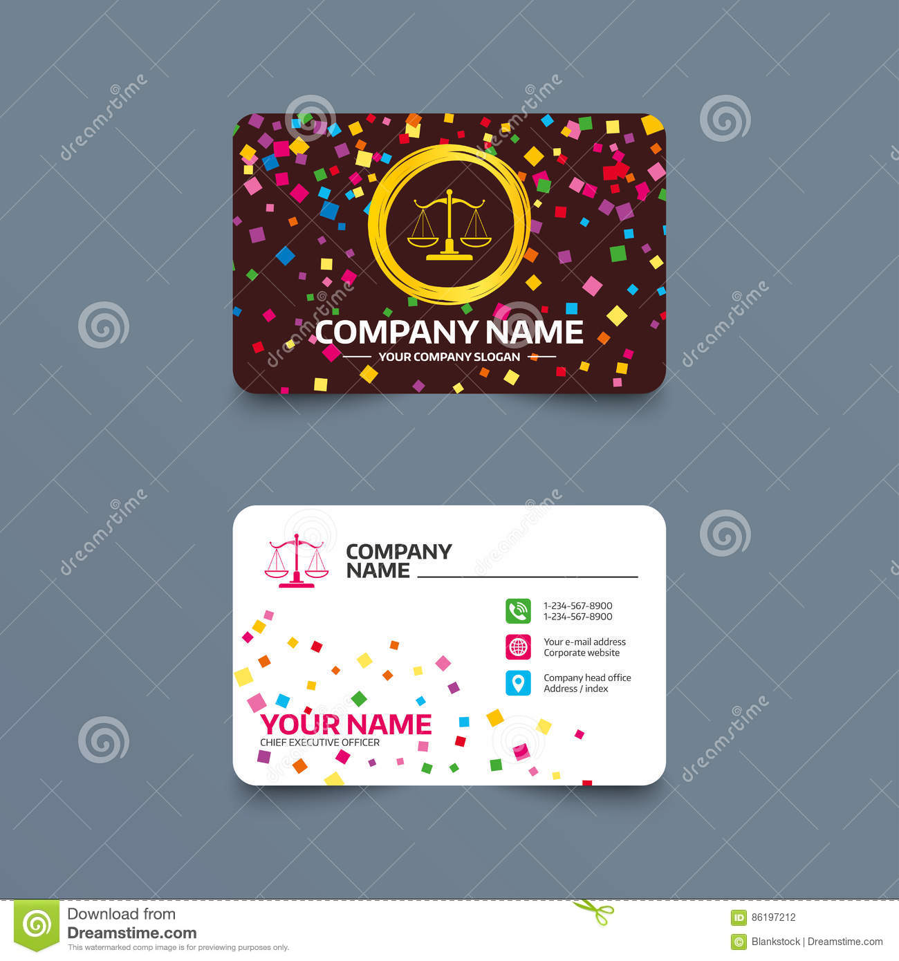 Scales of justice sign icon court of law symbol stock vector business card template with confetti pieces scales of justice sign icon court of law symbol phone web and location icons visiting card vector colourmoves