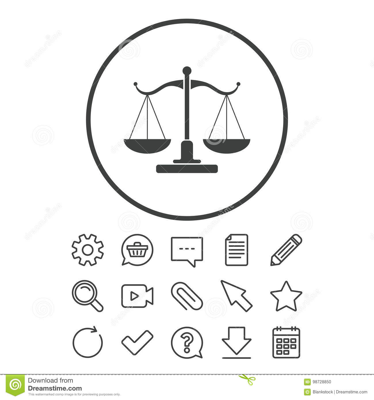 Scales Of Justice Sign Icon Court Of Law Symbol Stock Vector