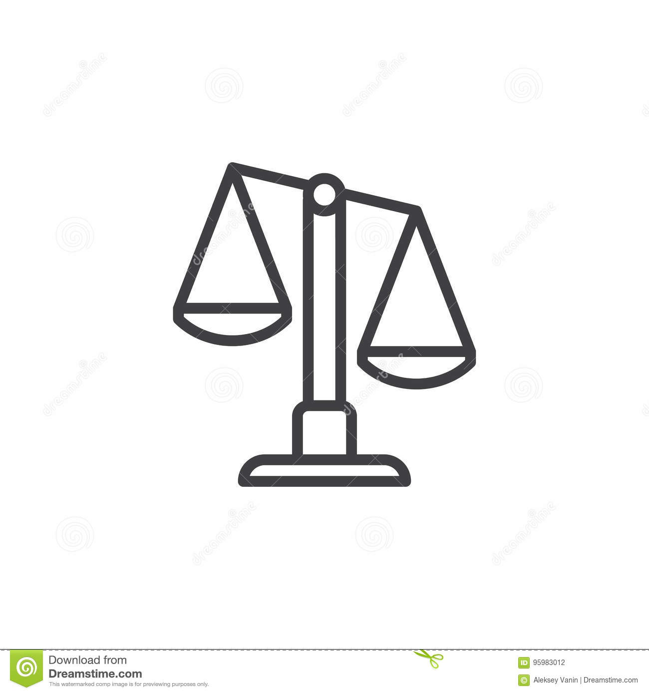 Scales Libra Line Icon Outline Vector Sign Linear Style Pictogram