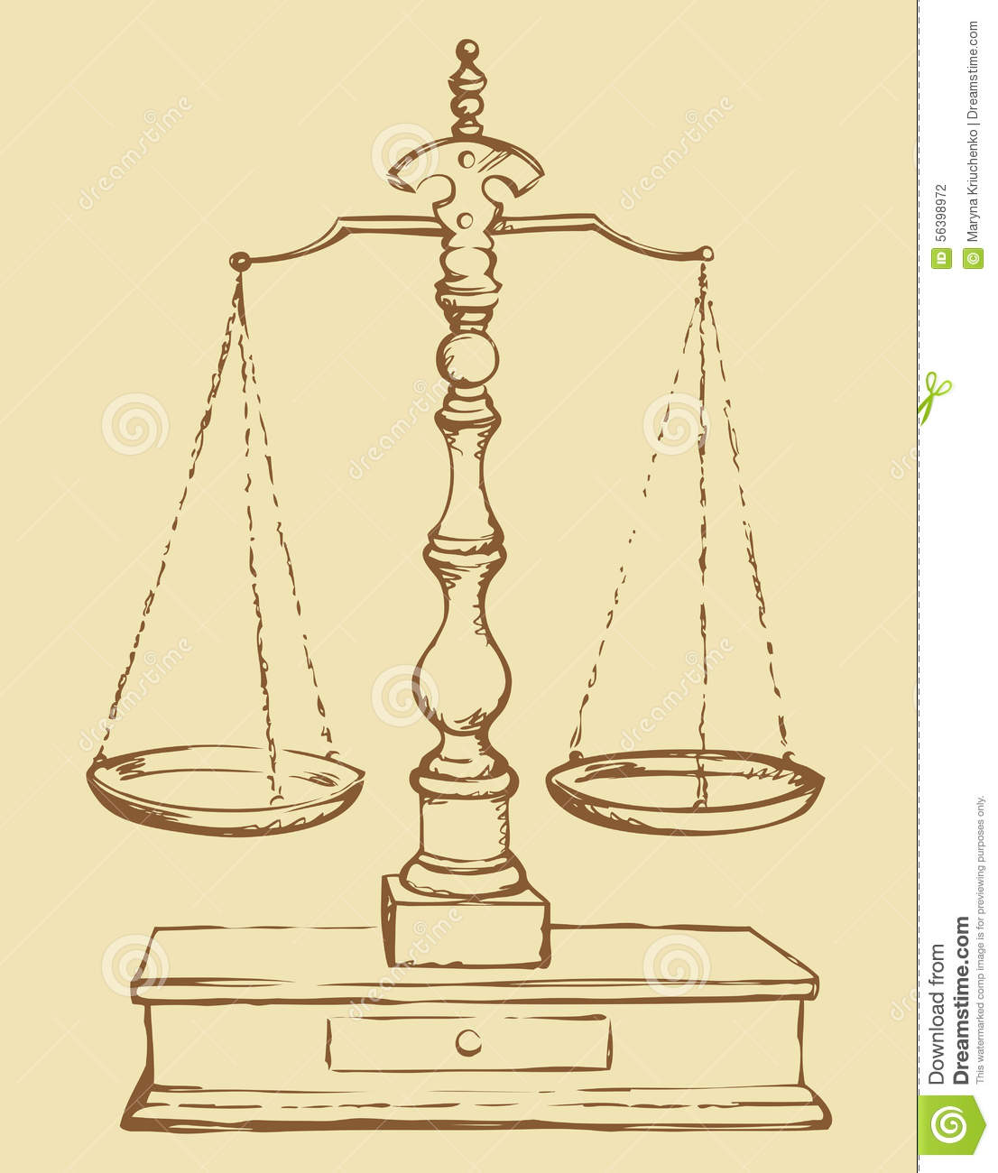 Scales. Vector drawing stock vector. Illustration of ... Balance Scale Sketch