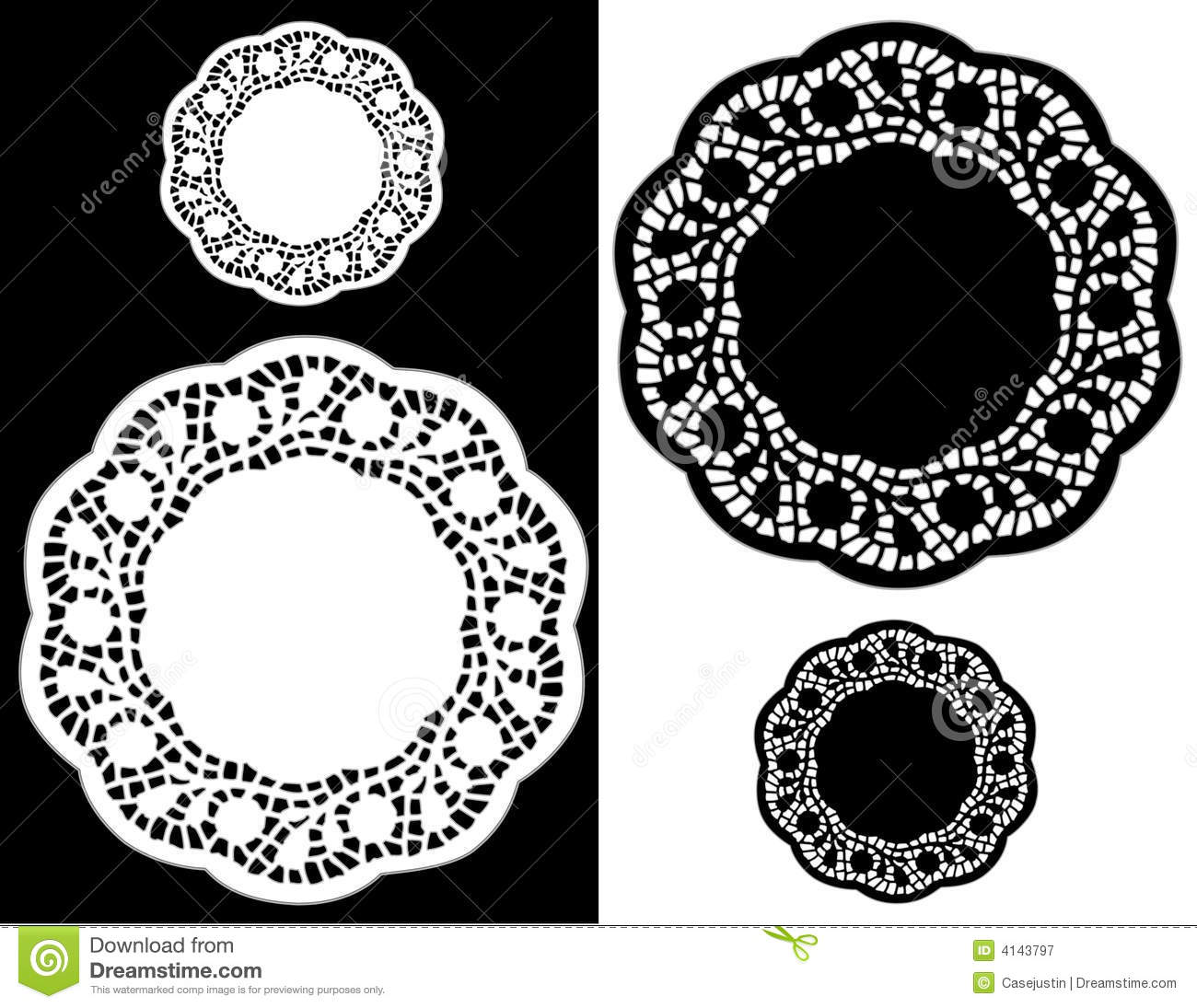 Scalloped Lace Doily Place Mats Stock Vector Image 4143797