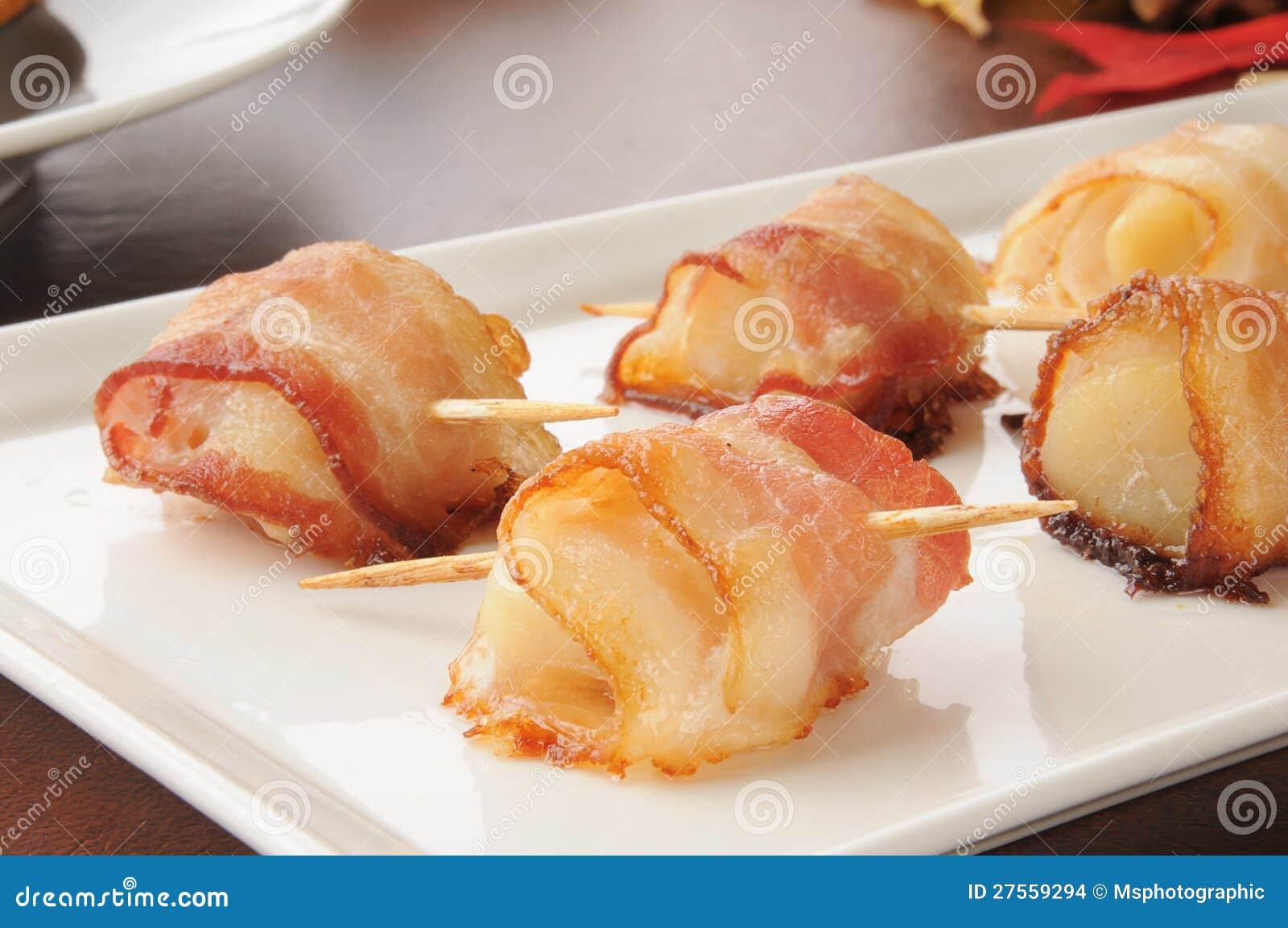 Scallops envolvidos no bacon