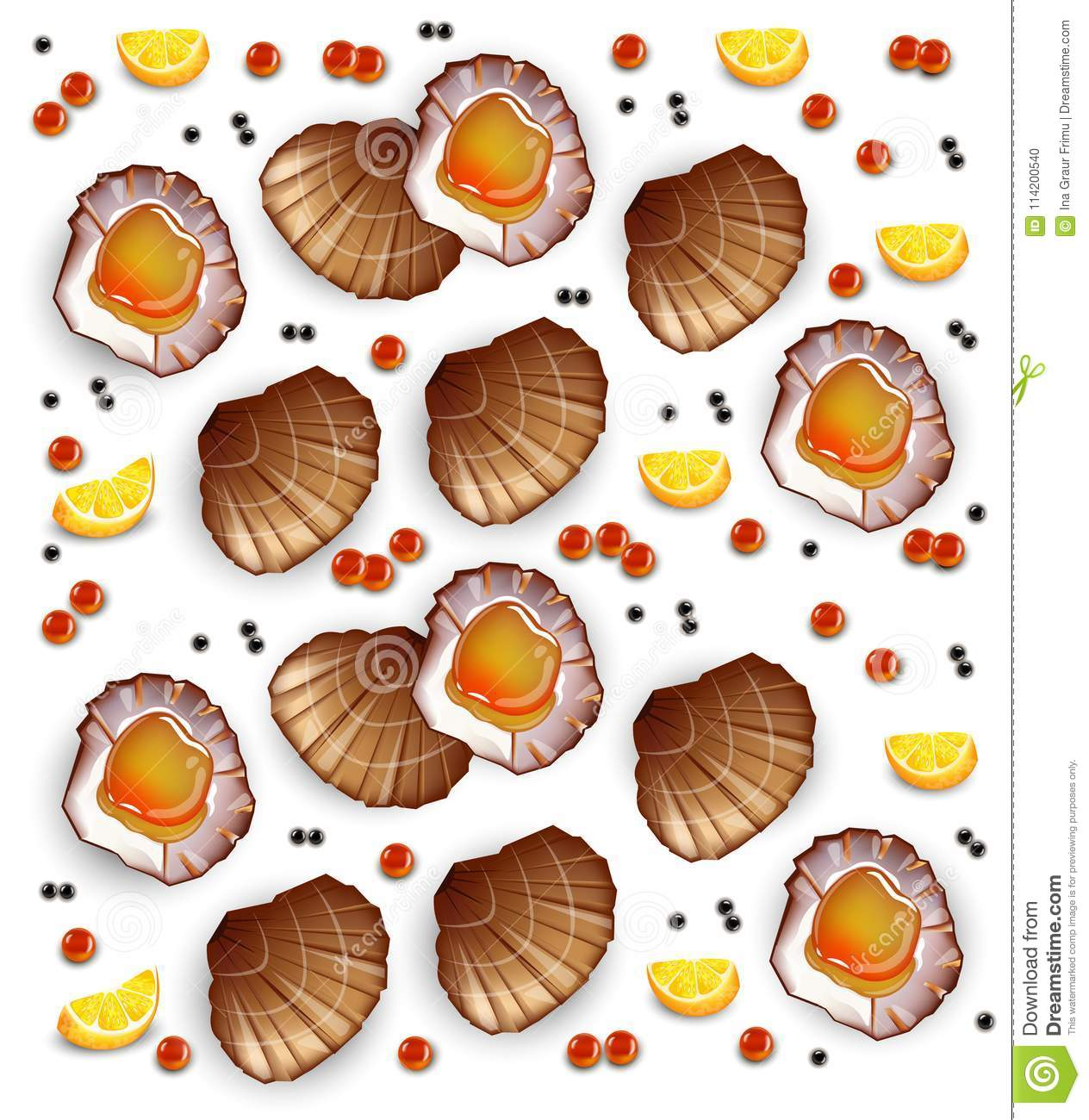 Scallops pattern Vector realistic seafood. Fresh shellfish. 3d detailed illustrations