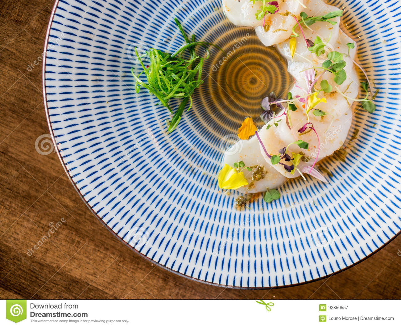 Scallops sashimi from above.