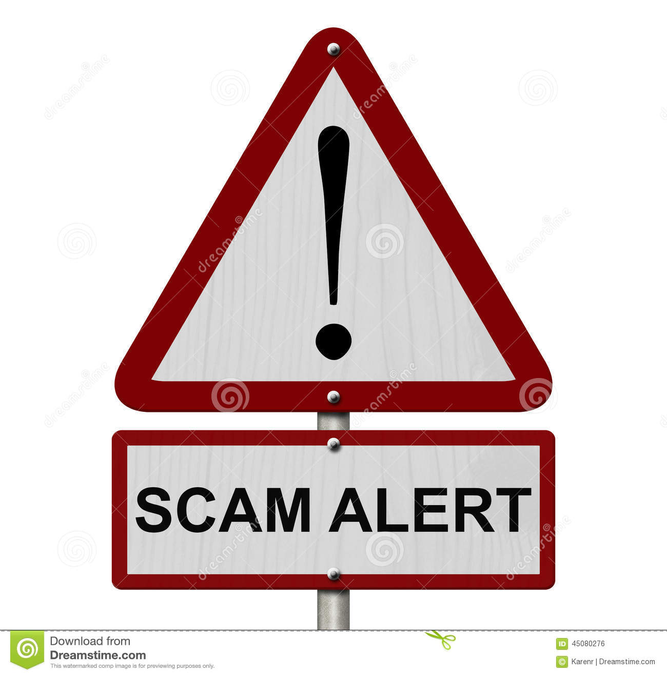 scam alert caution sign stock photo image of sign street