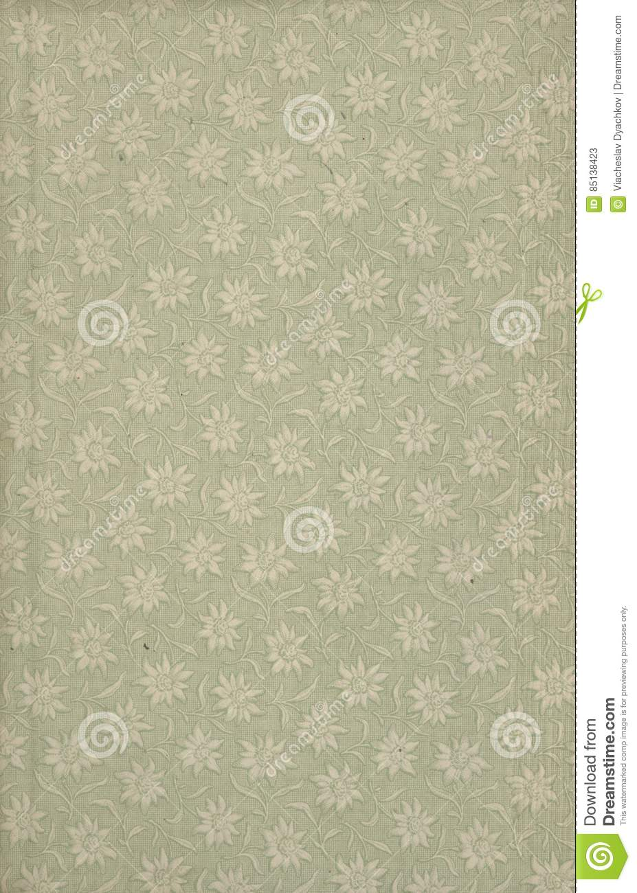 Scan the flyleaf of an old book, green-gray-brown, with dense and.