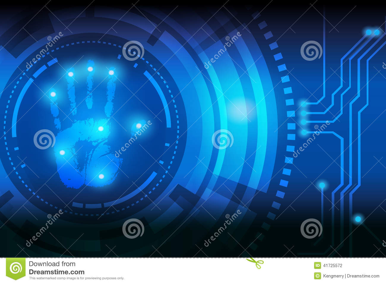 Scan Handprint Technology Stock Vector Image 41725572