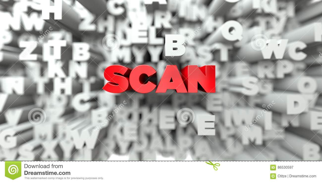 Scan red text on typography background 3d rendered royalty free stock image this image can be used for an online website banner ad or a print postcard