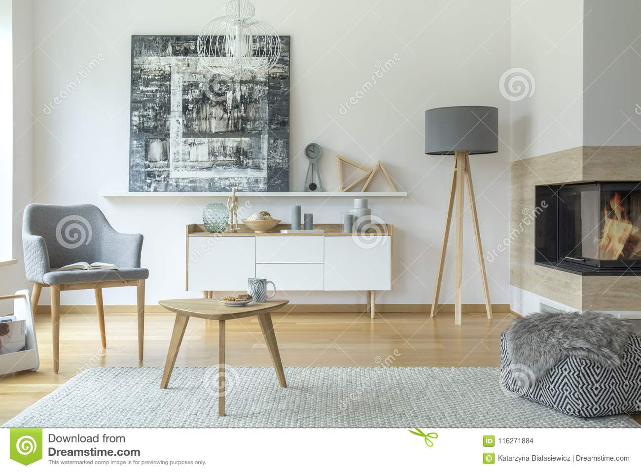 Scandi Grey Living Room Interior Stock Photo - Image of pouf, modern ...