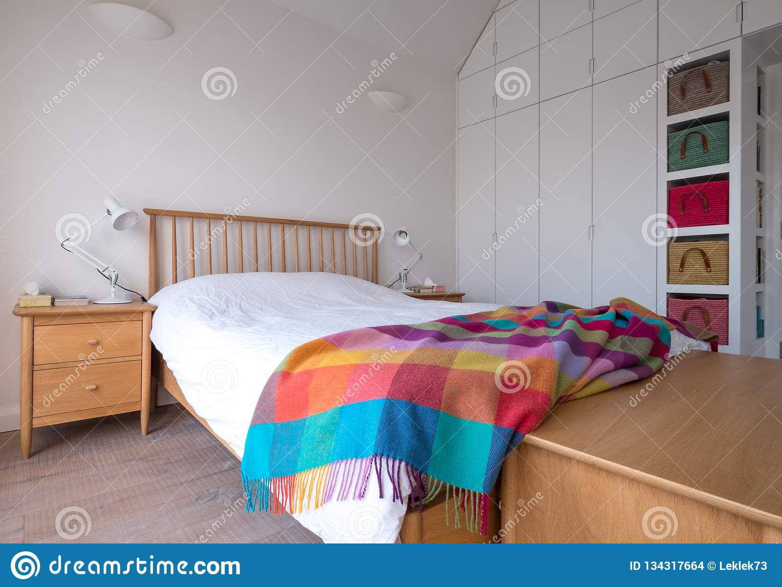 Scandi Style Bedroom Interior With Wooden Bedroom Furniture, White