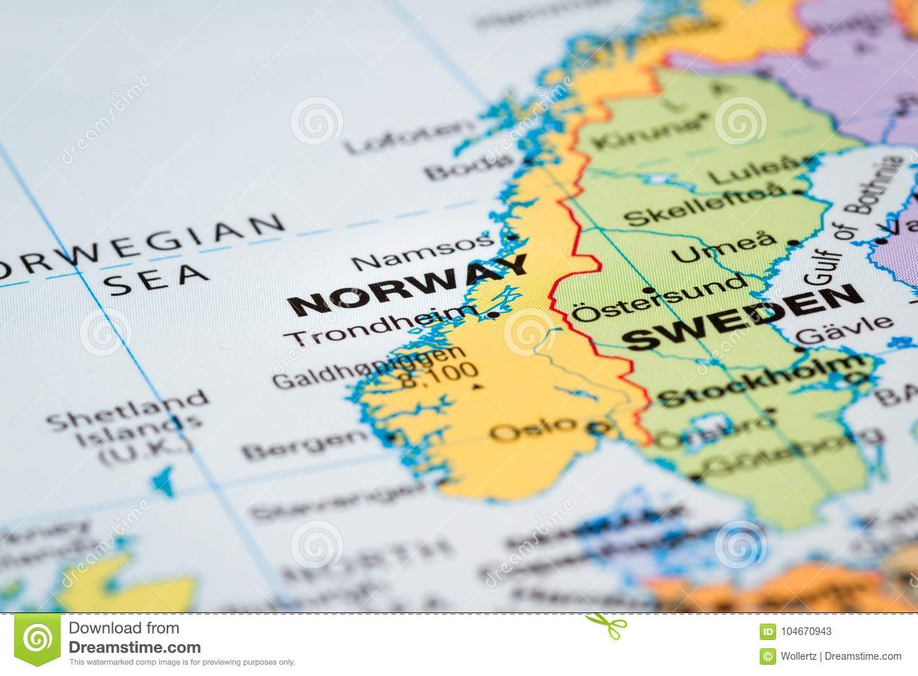Scandinavia on a map stock image. Image of discover - 104670943