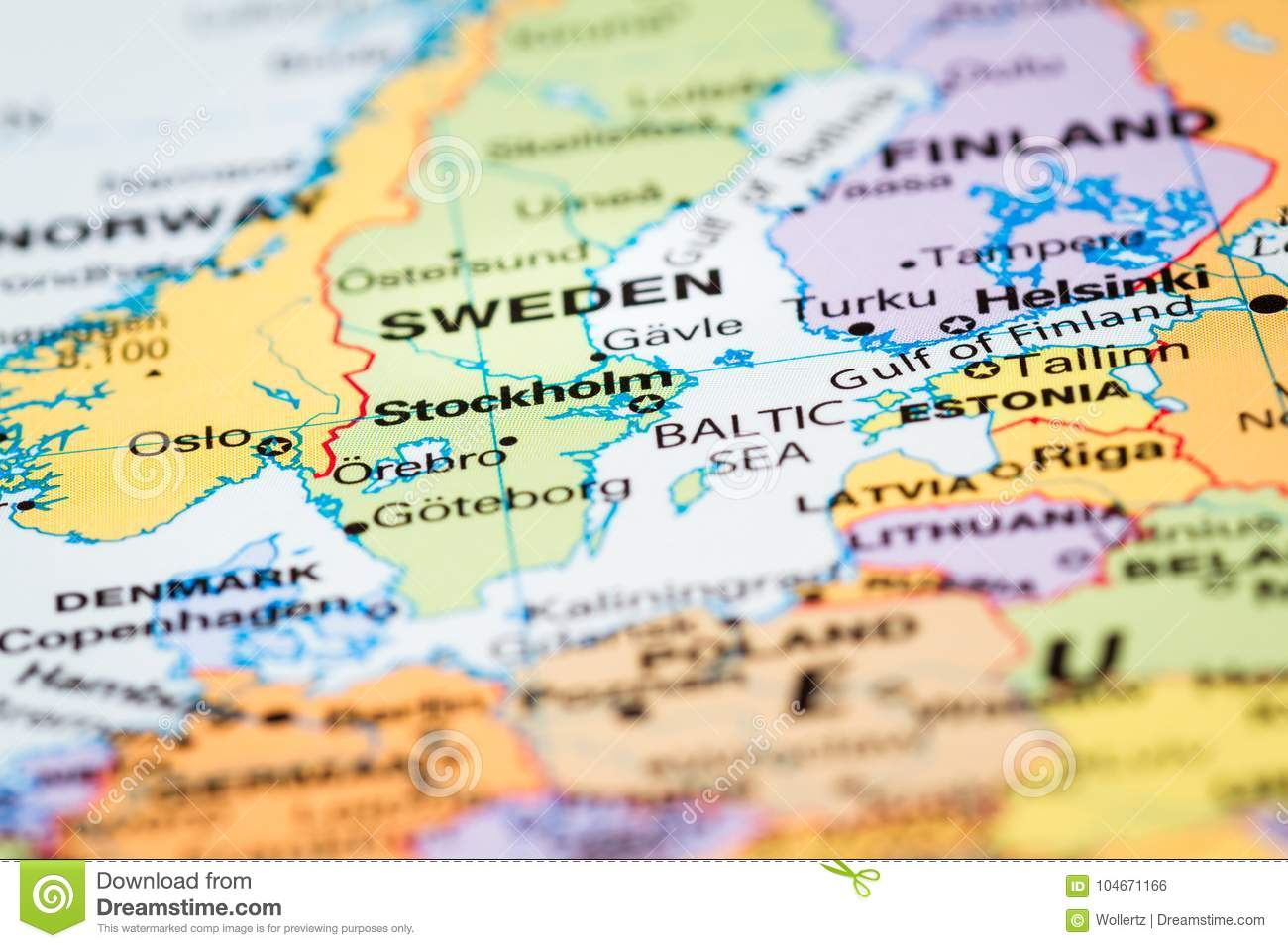 Scandinavia on a map stock photo. Image of macro, countries - 104671166