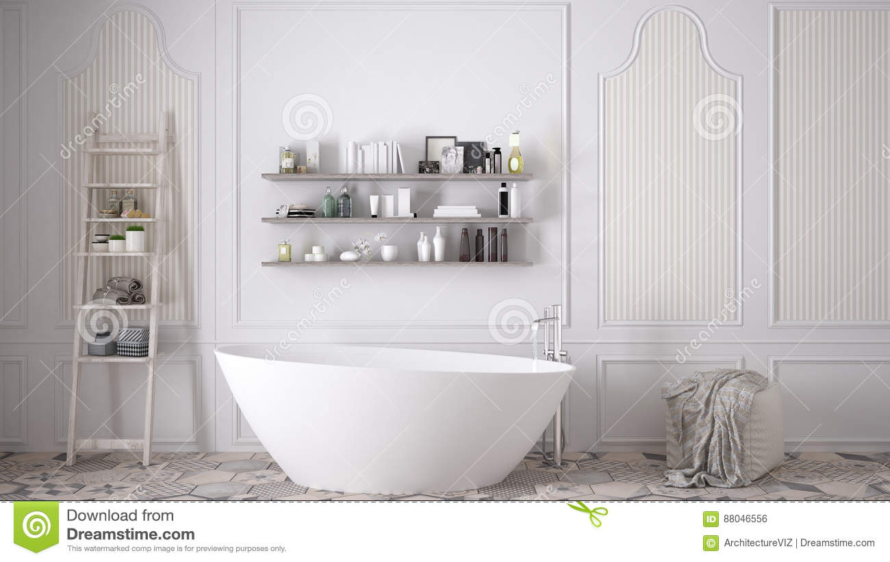 Scandinavian Bathroom Classic White Vintage Interior Design Stock Photo Image Of Bottles Cologne 88046556