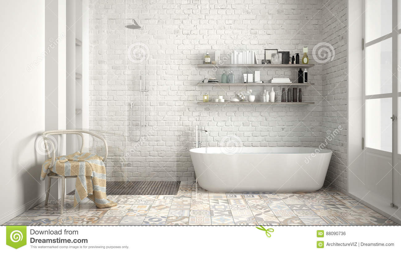 Scandinavian Bathroom, Classic White Vintage Interior Design Stock ...