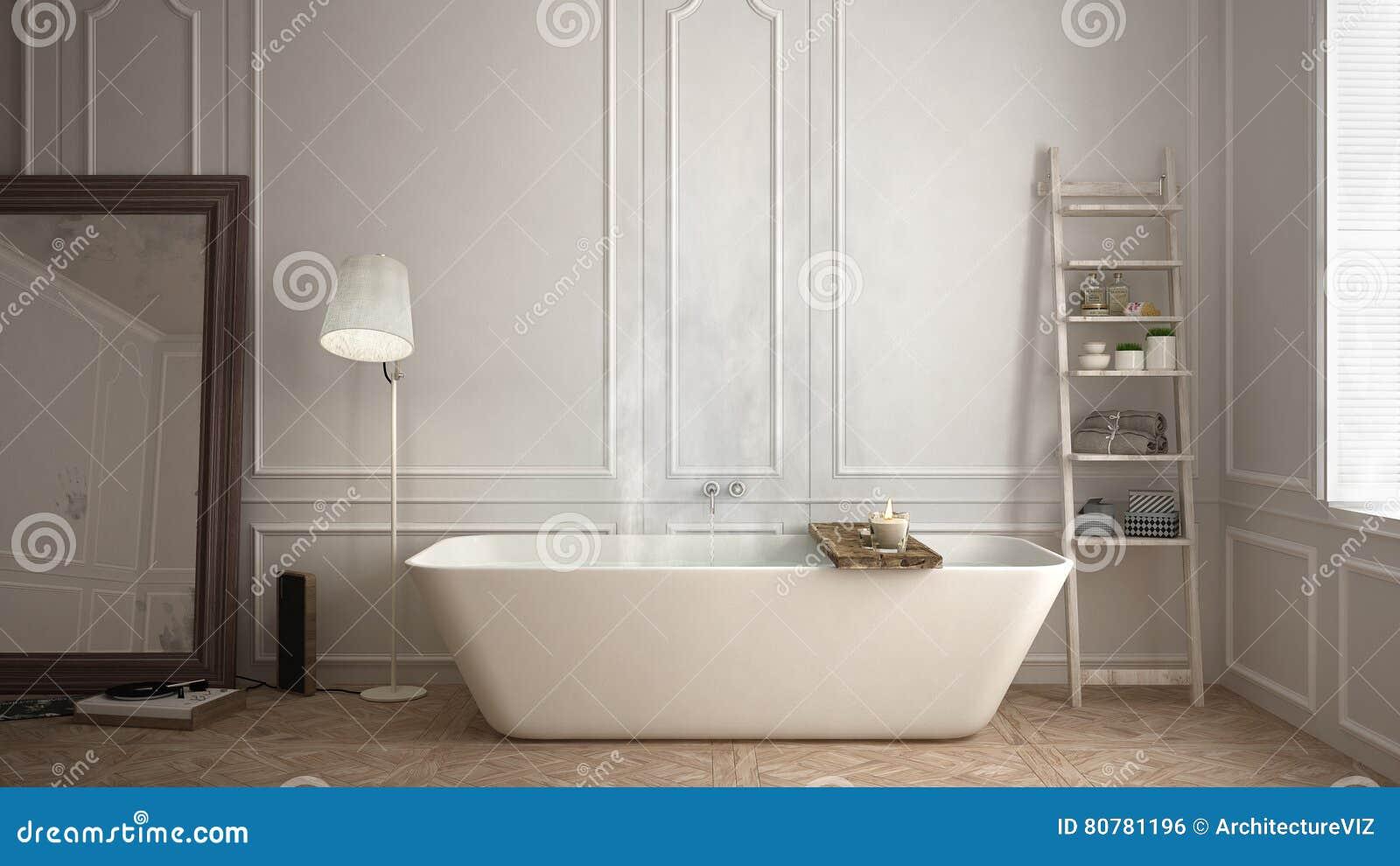 Scandinavian Bathroom, White Minimalistic Design, Hotel Spa Reso ...