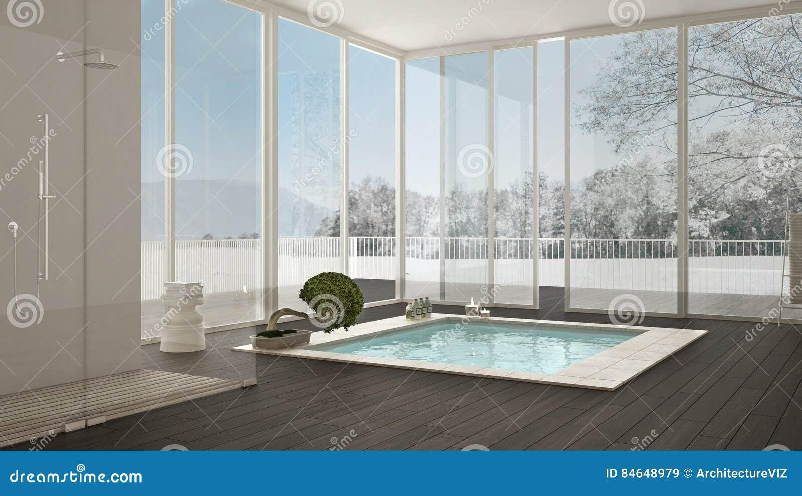 Scandinavian Bathroom, White Minimalistic Interior Design, Big W ...