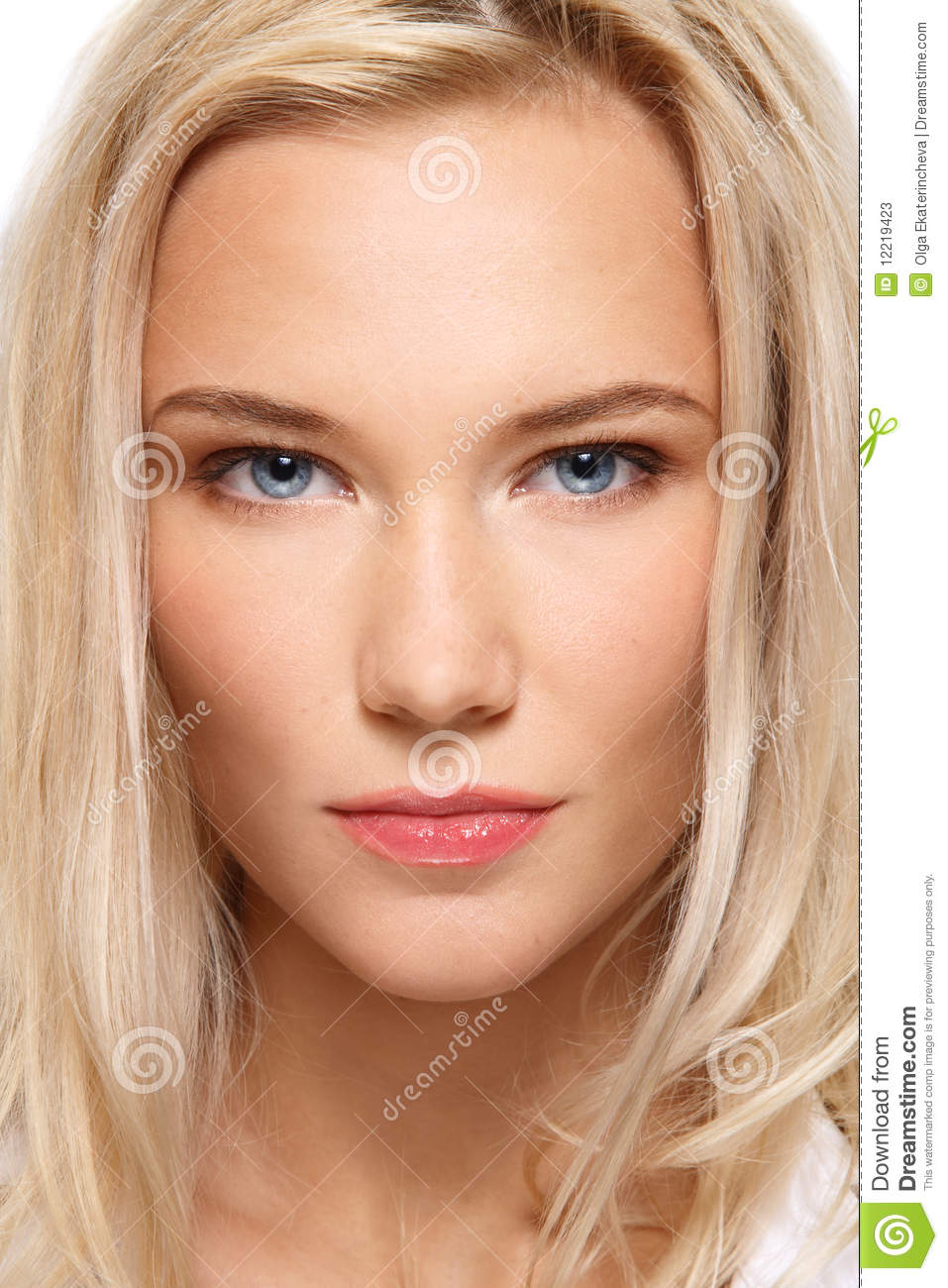 Close up portrait of beautiful blonde girl with clear make up