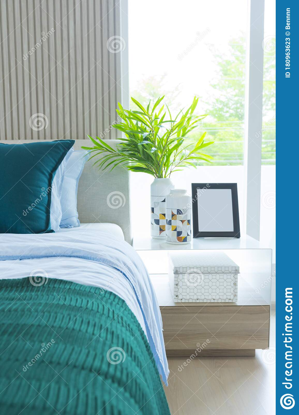 Scandinavian Bedroom Interior With Bed In Brown And Green Colors Stock Image Image Of Boho Decor 180963623