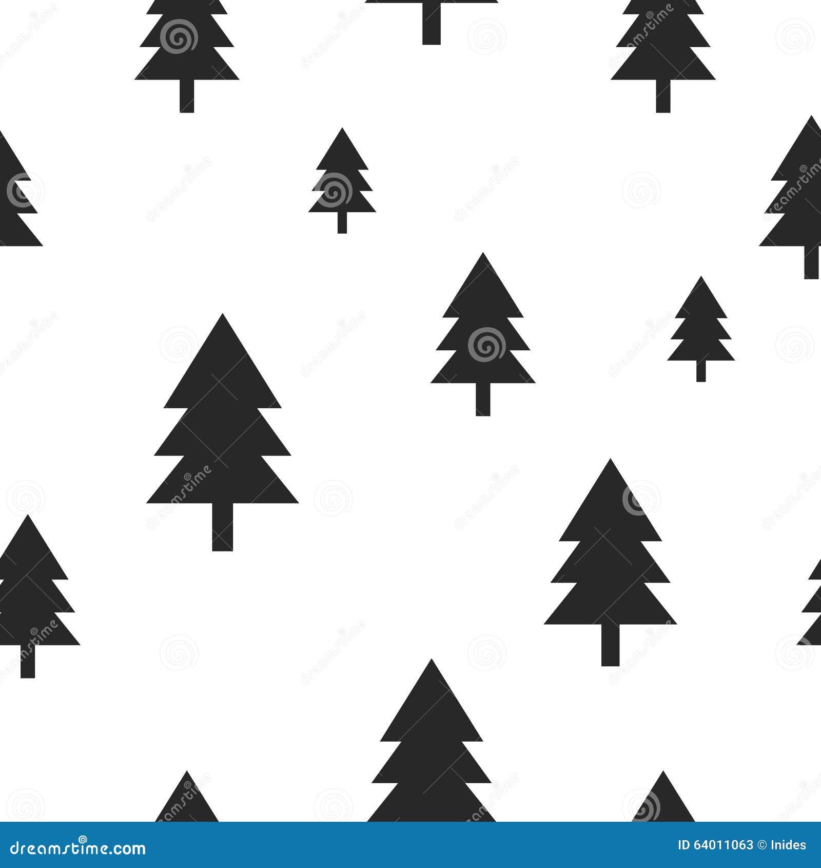Scandinavian Black Forest Tree On White Vector Stock