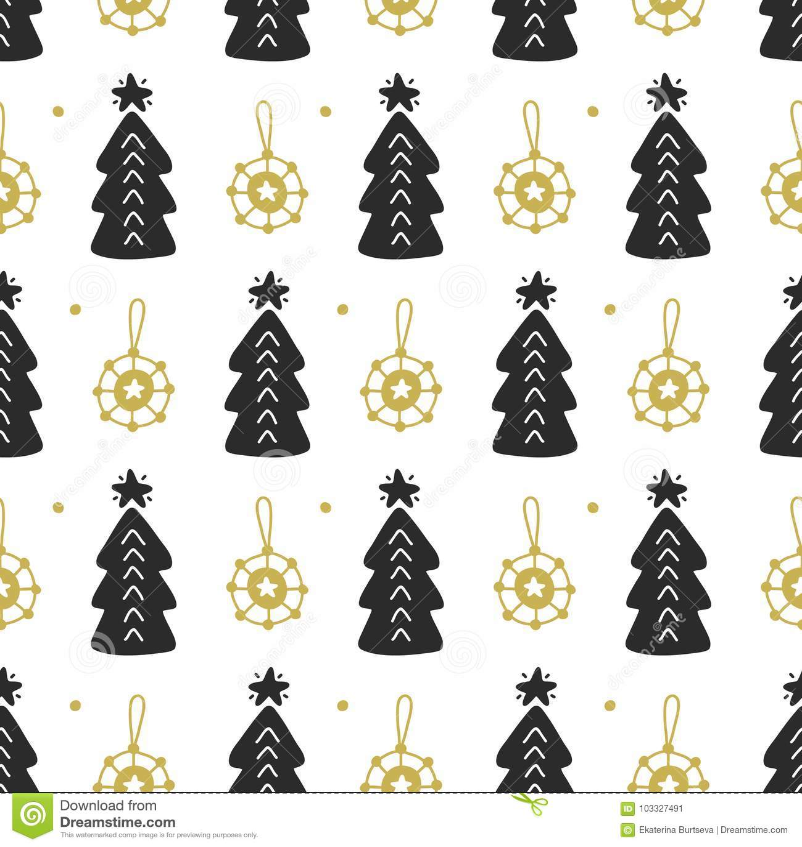 Scandinavian Christmas Nordic Seamless Pattern With