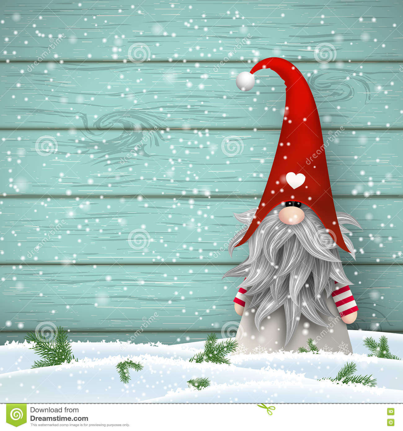 Scandinavian Christmas Traditional Gnome, Tomte, Illustration ...