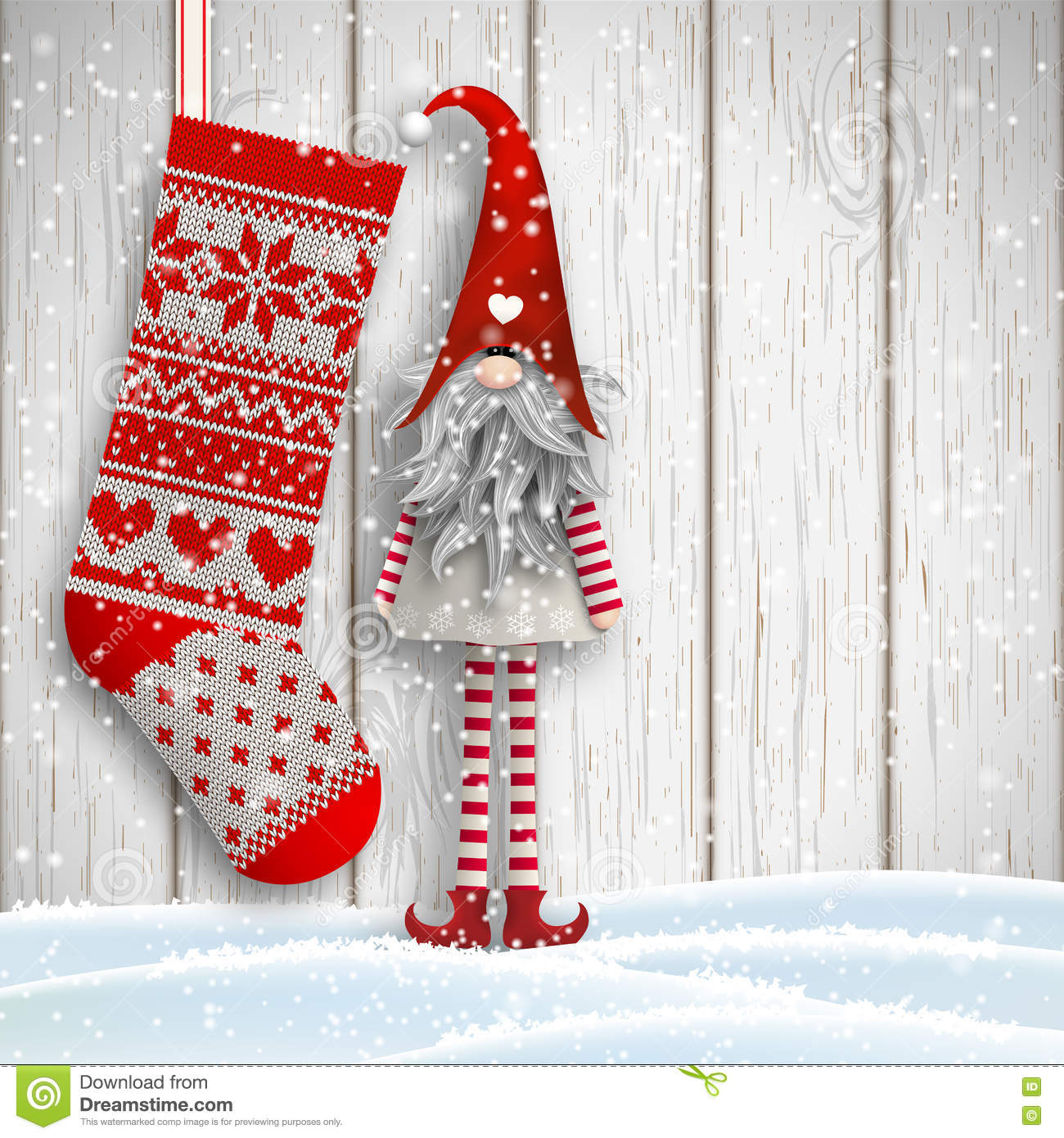Scandinavian Christmas Traditional Gnome, Tomte, With Knitted ...