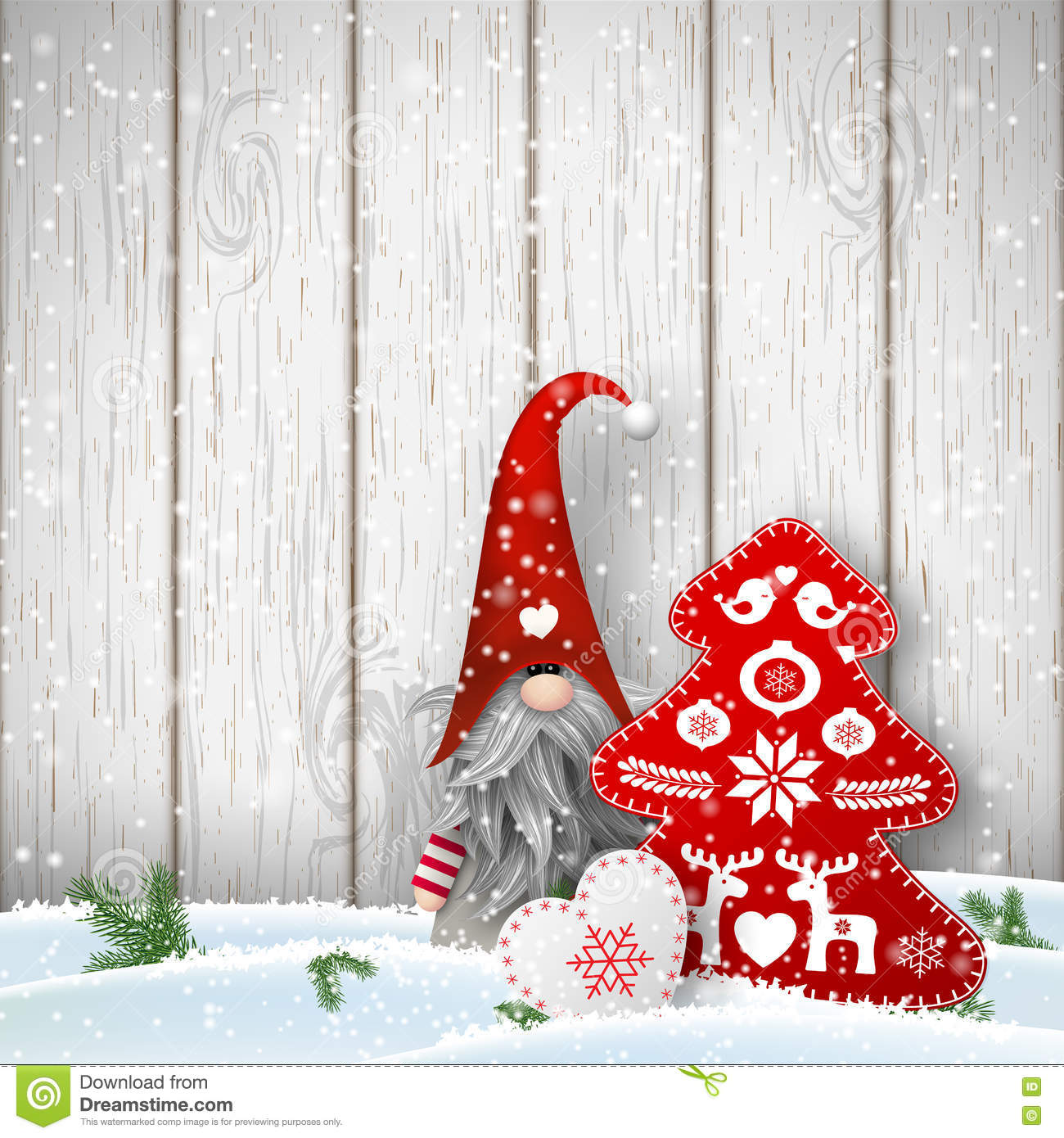 scandinavian christmas traditional gnome tomte with other seasonal decorations illustration - Gnome Christmas Decorations