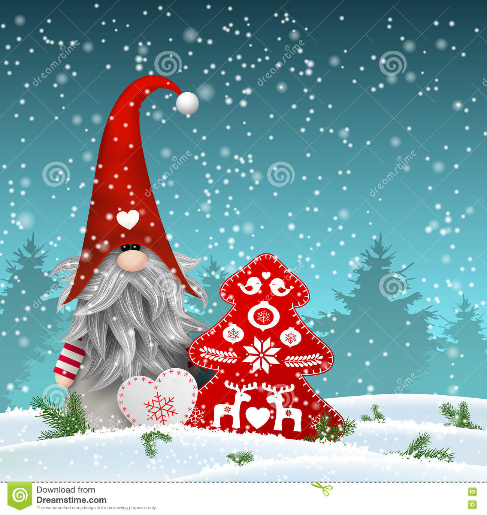 Scandinavian christmas traditional gnome tomte with other seasonal scandinavian christmas traditional gnome tomte with other seasonal decorations illustration m4hsunfo