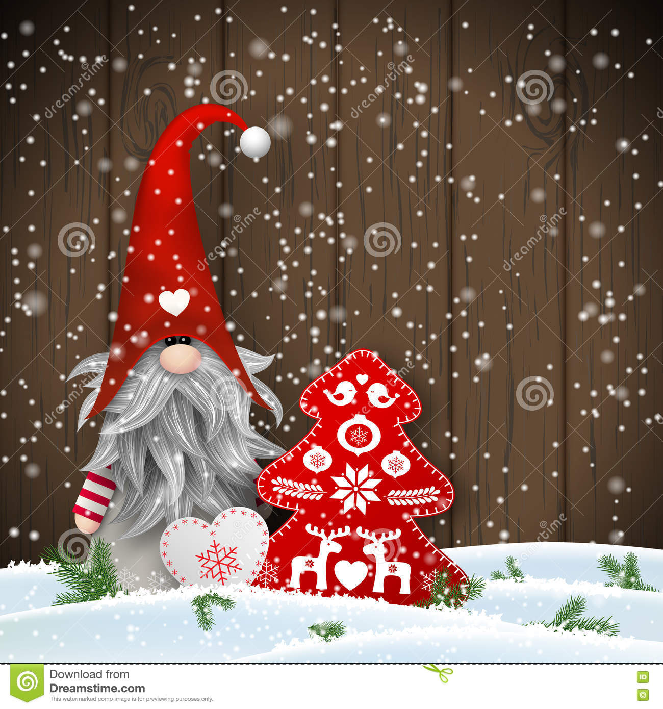 scandinavian christmas traditional gnome tomte with other seasonal decorations illustration
